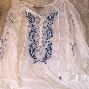 White and blue linen like blouse